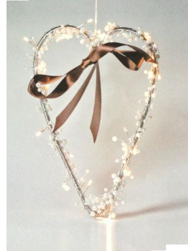 Mistelherz mit LED Beleuchtung, für Weihnachten, Weihnachtsdeko